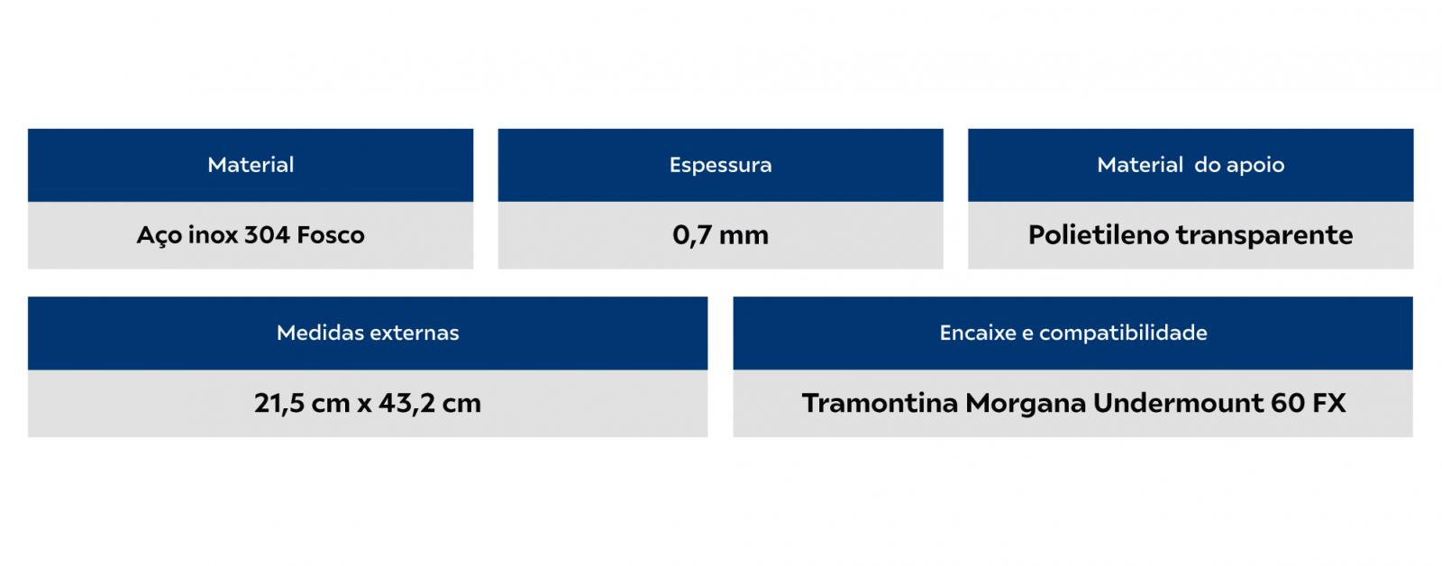 Cesto Aramado Inox Para Cuba Morgana 60FX(68x50)Tramontina