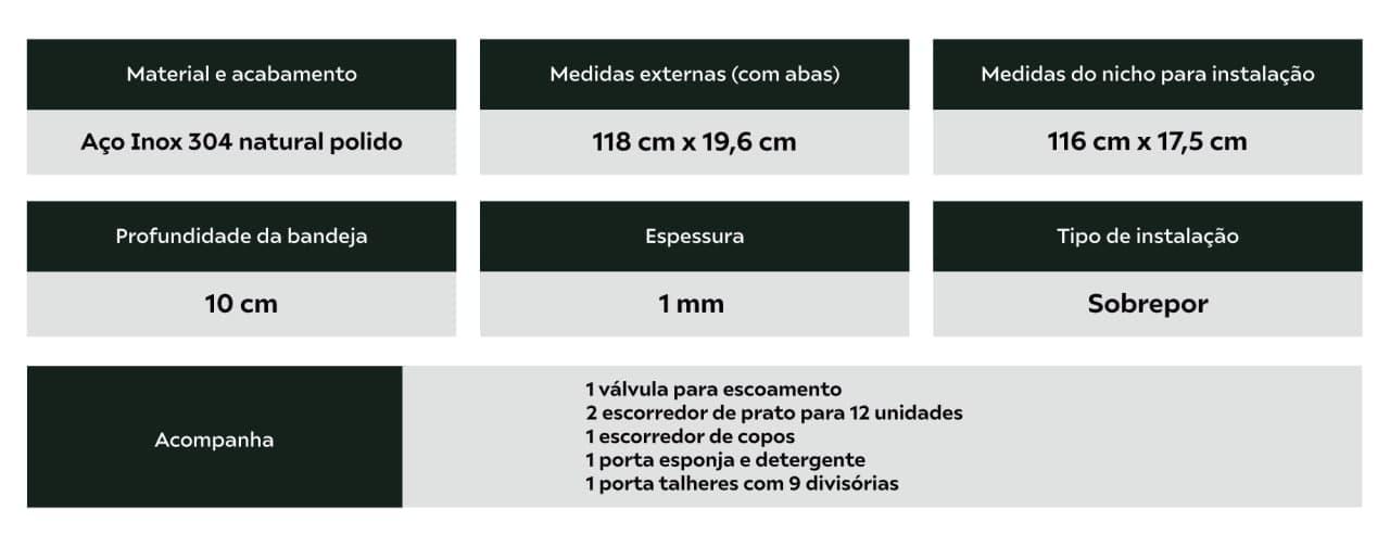 Calha Úmida Inox 118cm Completa 5 Módulos Calha Úmida
