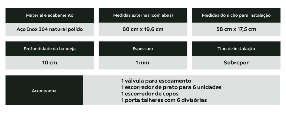 Calha Úmida Inox 60cm Completa Com Acessórios 3 Módulos