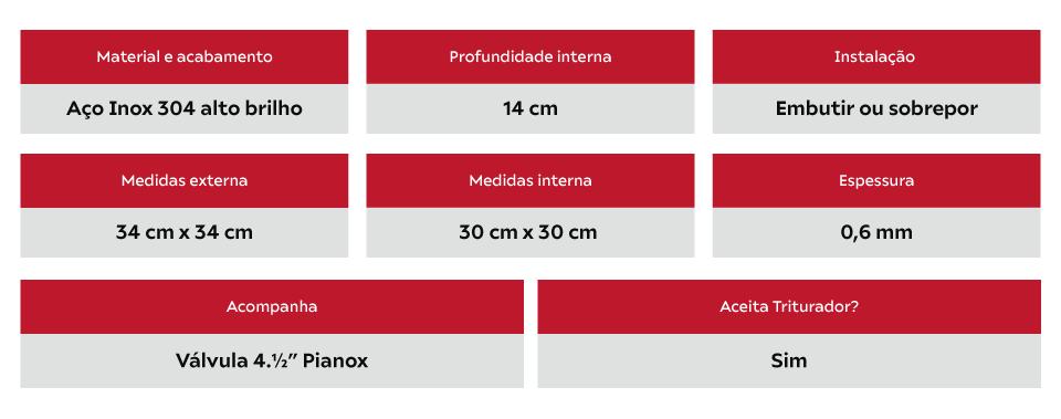 Cuba Inox De Sobrepor Franke Rambla Alto Brilho 30cm