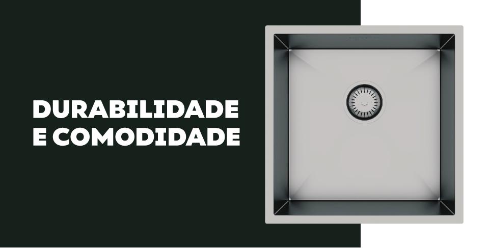 Cuba Inox Quadrada Para Cozinha 40x40x20cm Calha Úmida