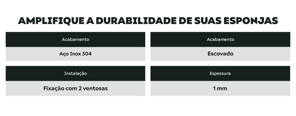 Suporte Porta Esponja Inox Com Ventosa Calha Umida - Pias E Cubas