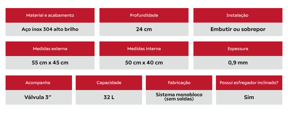 Tanque Inox Alto Brilho Franke - 50 x 40 x 23 cm - 32 Litros