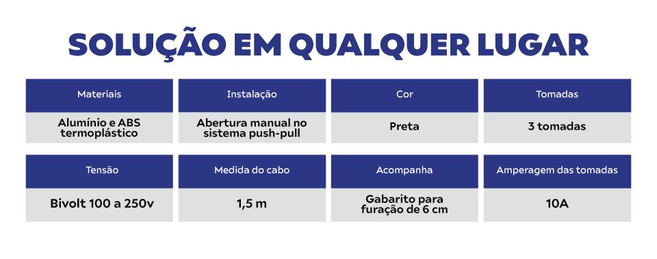 Torre de Tomadas Preta Manual Multiplug Retrátil Pratik 10A