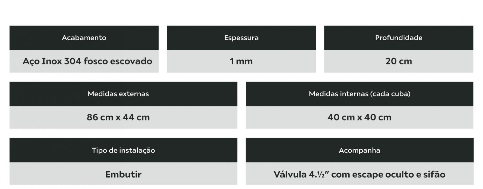 Cuba Inox Quadrada Dupla Para Cozinha 86x44x20cm Calha Úmida