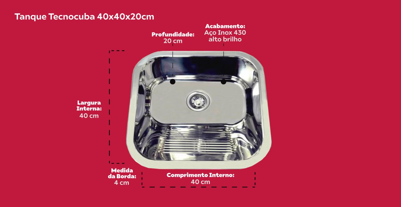 Combo Tecnocuba Cuba Inox 40x34x14cm e Tanque Inox 40x40x20cm