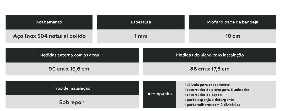 Calha Úmida Inox 90cm Completa 4 Módulos Calha Úmida