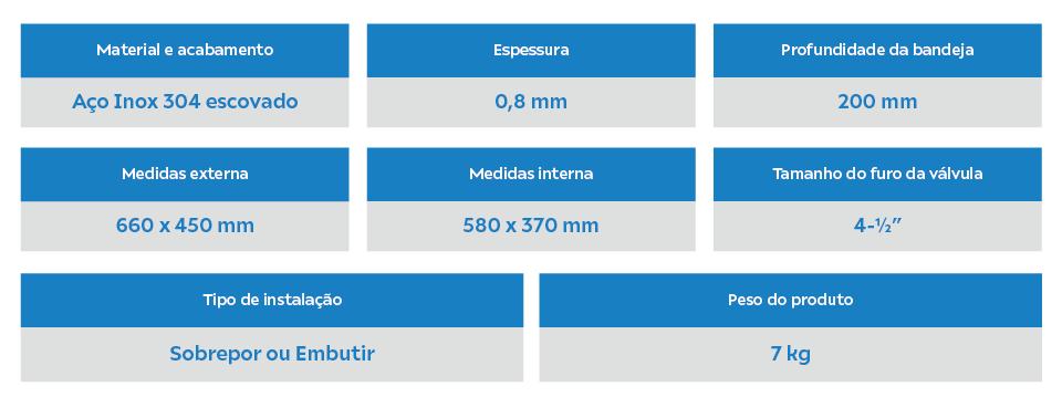 Especificações técnicas Cuba Inox Kameel STD01 Arell