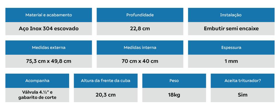 Cuba Inox Arell Estilo Fazenda Farm Avental 70x40x23cm