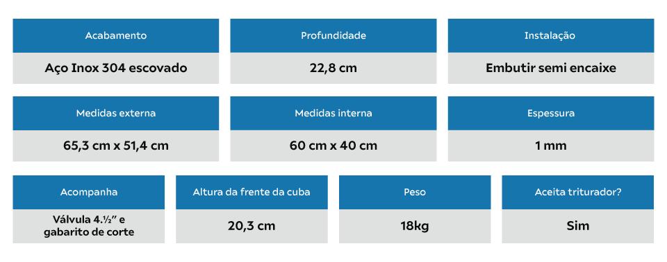 Cuba Inox Arell Estilo Fazenda Pequena 60x40x23cm SA105-PP