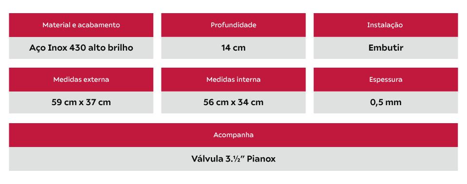 Cuba Inox Redonda 30cm Tecnocuba com válvula 3.1/2''