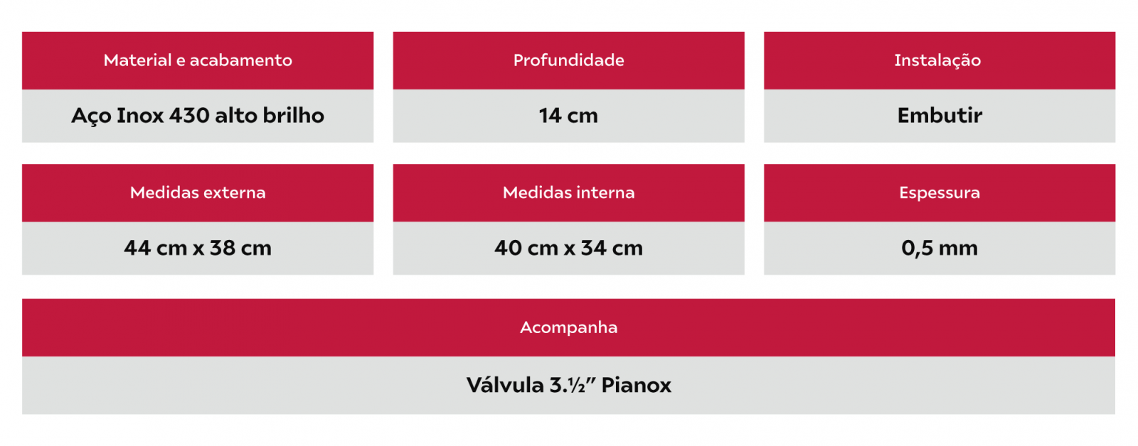 Combo Tecnocuba Cuba Inox 40x34x14cm e Tanque 40x40x20cm