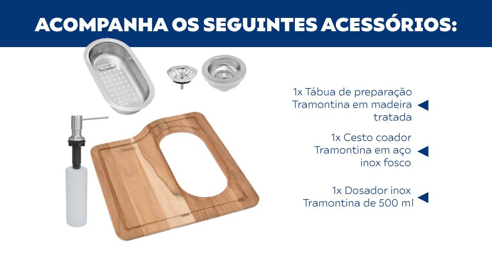 Cuba Tramontina Morgana 60 FX Undermount Com Acessórios
