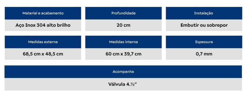 Cuba Tramontina Morgana 60 FX 68x50 Sem Acessorios