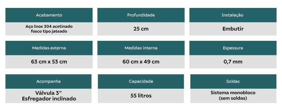 Tanque Inox Debacco-Ghelplus 60x50x25cm Acetinado 55 Litros