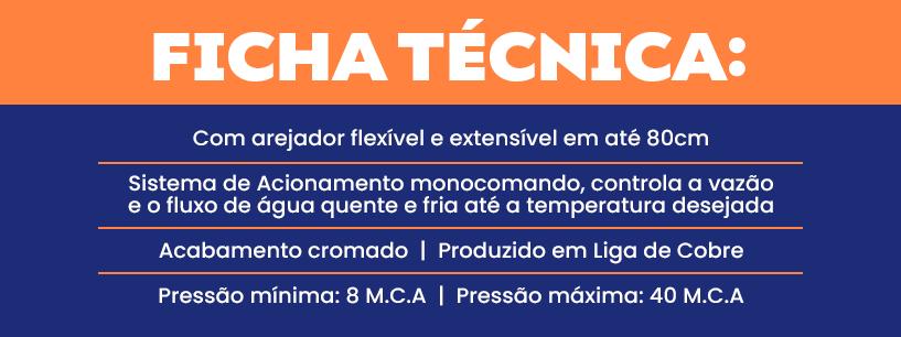 Ficha técnica da Torneira Monocomando 2885 C75 da Meber