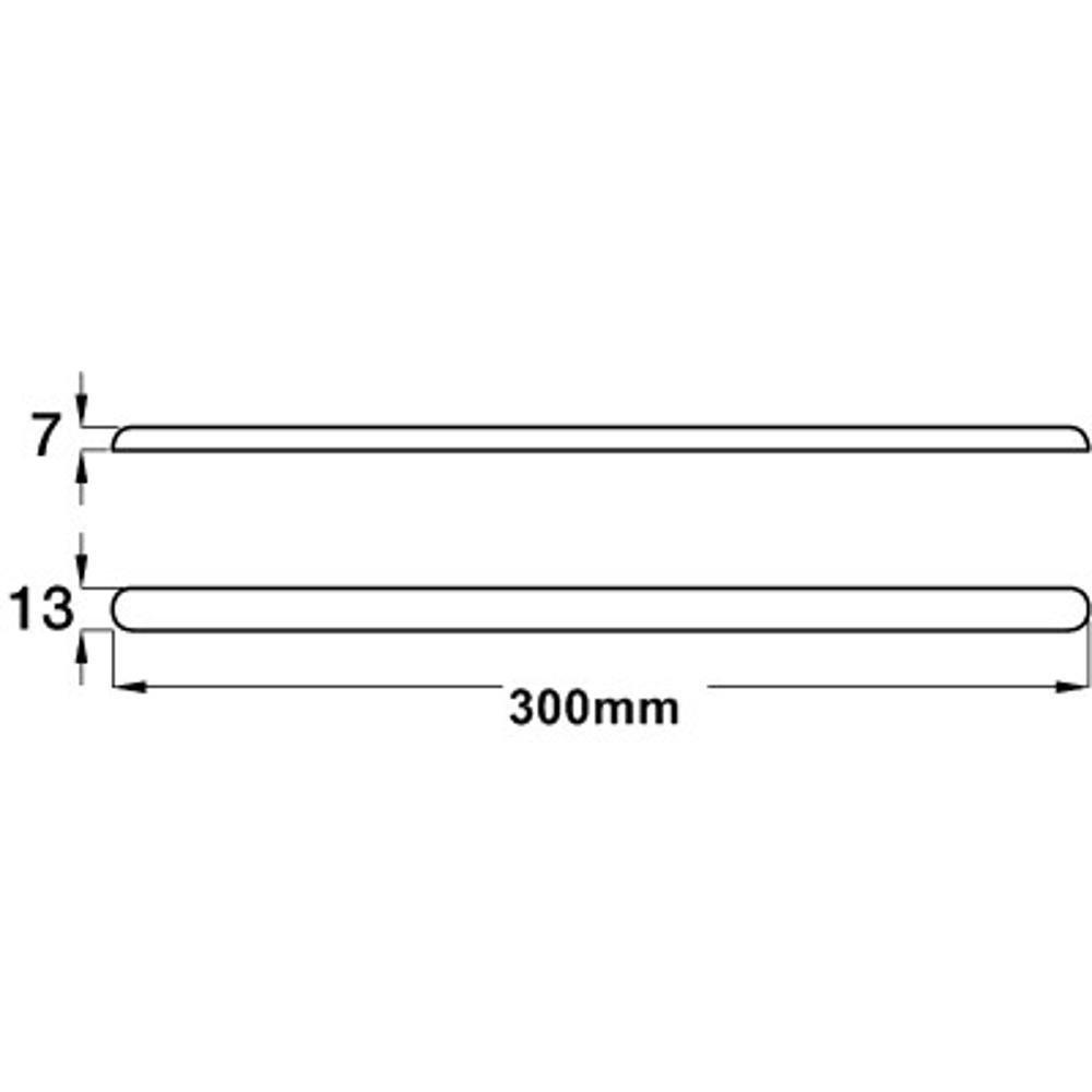 Medidas e Desenho Técnico da Barra Inox Protetora Para Tampo De Pia Auto Adesiva