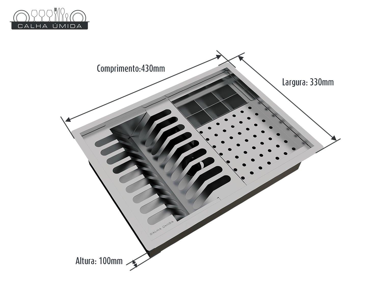 Calha Úmida Organizadora Lateral Quadratta Pratic 40x30cm