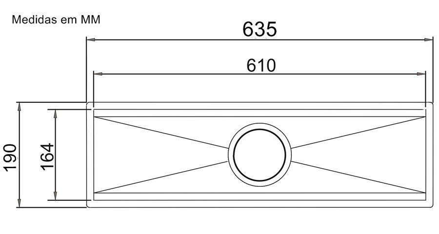 Medidas e Desenho Técnico do Canal Equipado Calha Úmida 60cm
