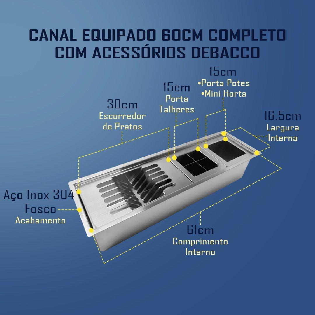 Canal Organizador 60cm Debacco Completo Com 3 Acessórios