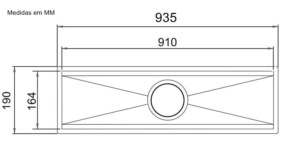 Medidas e Desenho Técnico do Canal Equipado Calha Úmida 90cm
