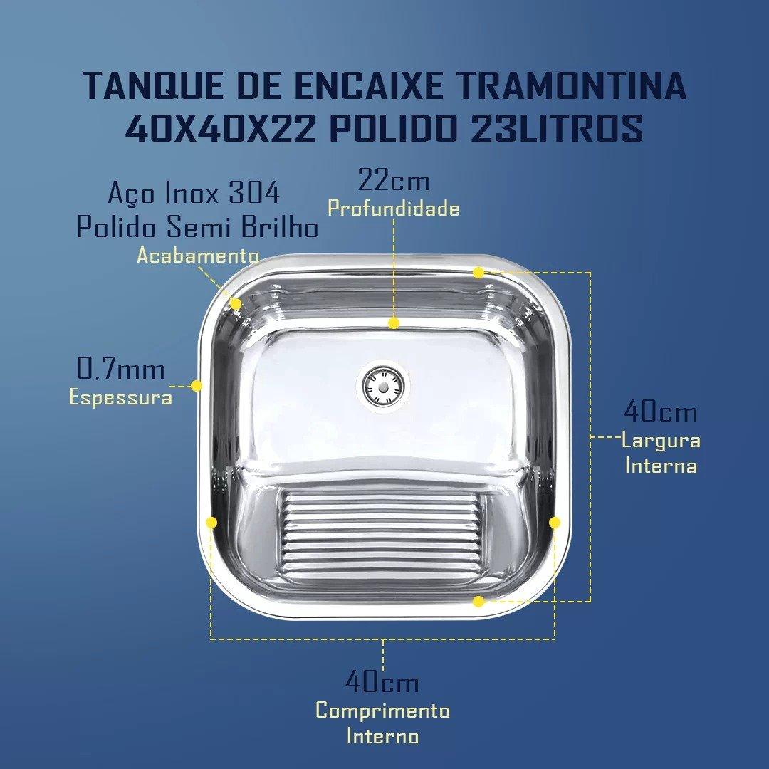 Combo Tramontina Cuba 40x34x17cm A/B + Tanque 40x40 Polido