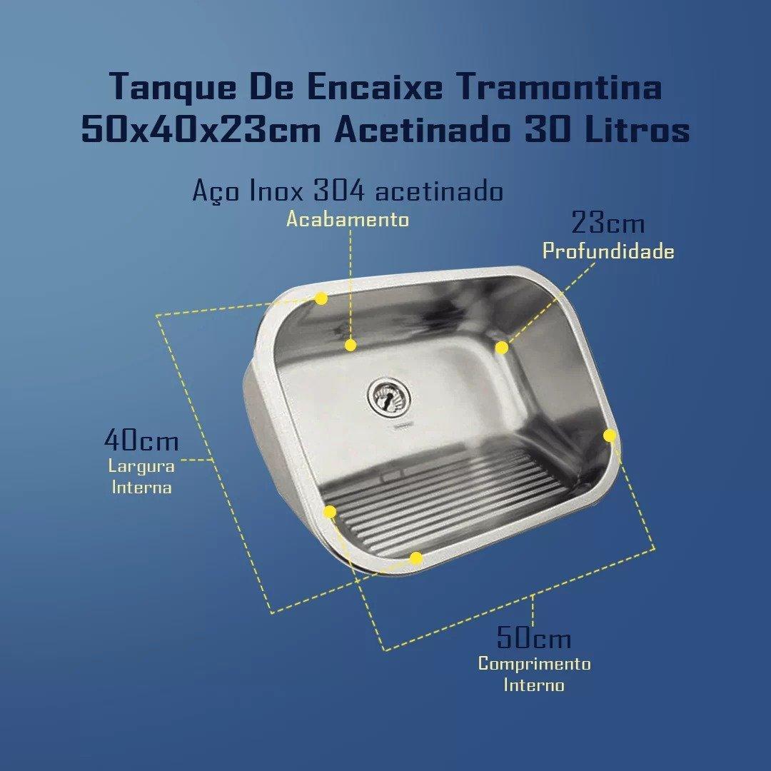 Combo Tramontina Cuba 56x34x14cm + Tanque 50x40 Acetinado