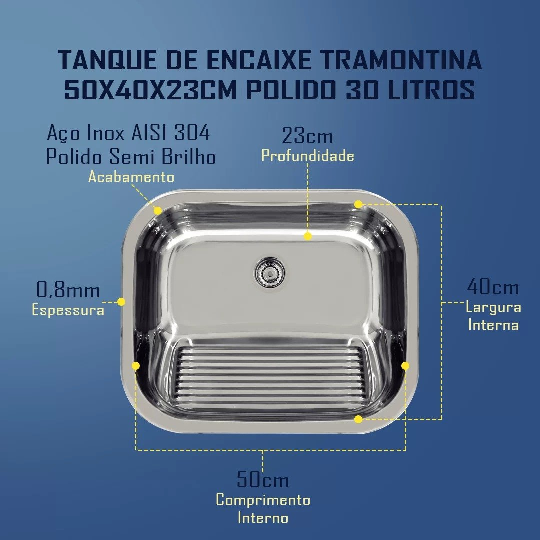 Combo Tramontina Cuba 56x34x17cm Prime +Tanque 50x40 Polido