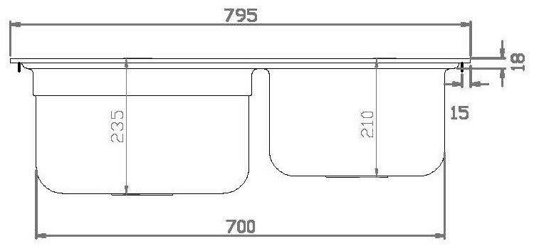 Medidas e Desenho Técnico da Cuba Debacco Funzionale 228 (Lado)