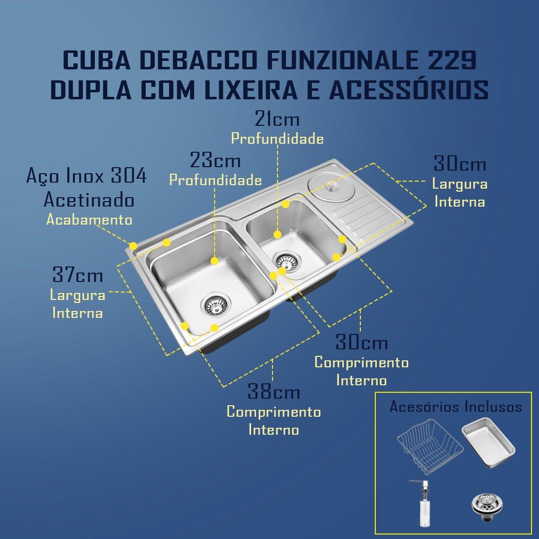 Medidas Cuba DeBacco Funzionali 229 Dupla Com Lixeira e Acessórios