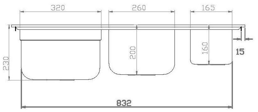 Medidas e Desenho Técnico da Cuba Debacco Funzionale 229 (Lado)