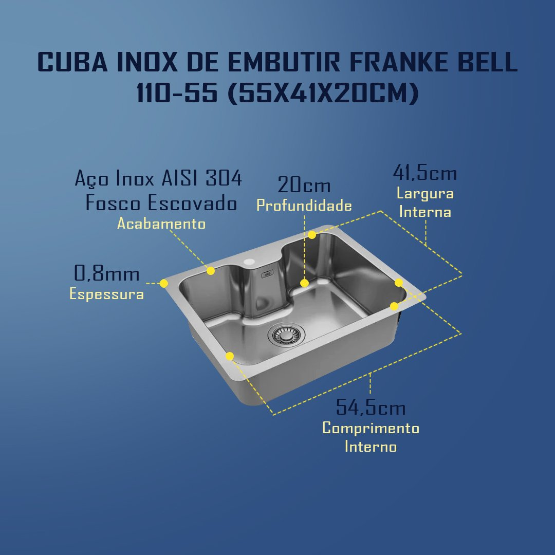 Medidas Cuba Inox Franke Bell 110-55