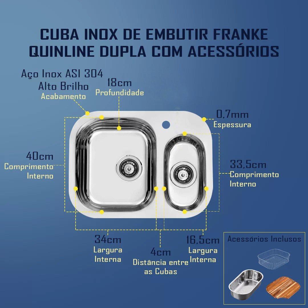 Cuba Inox De Embutir Franke Quinline Dupla Com Acessórios