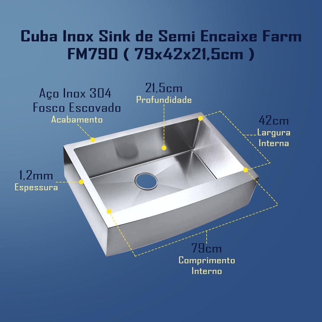 Medidas Cuba Sink Estilo Fazenda
