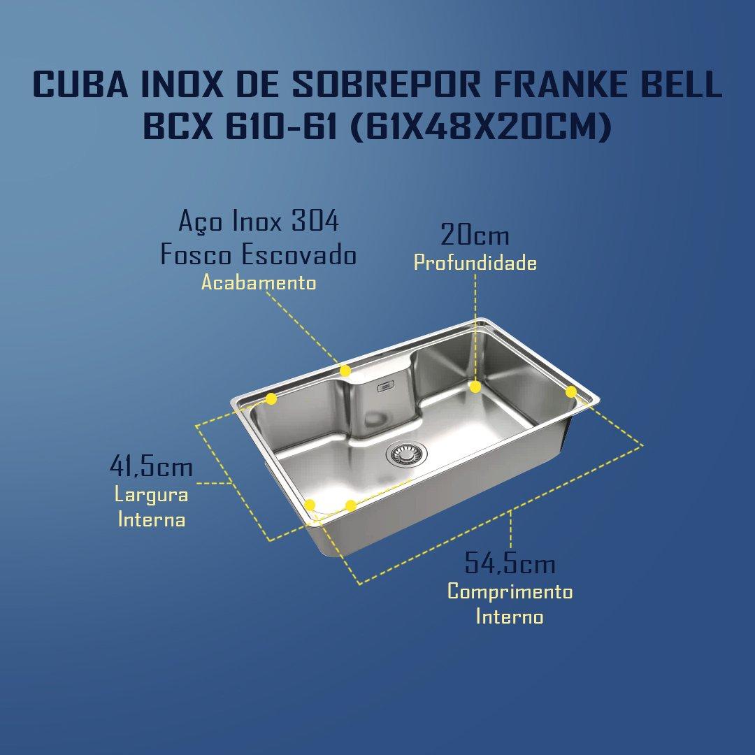 Medidas Inox De Sobrepor Franke Bell 610 - 61