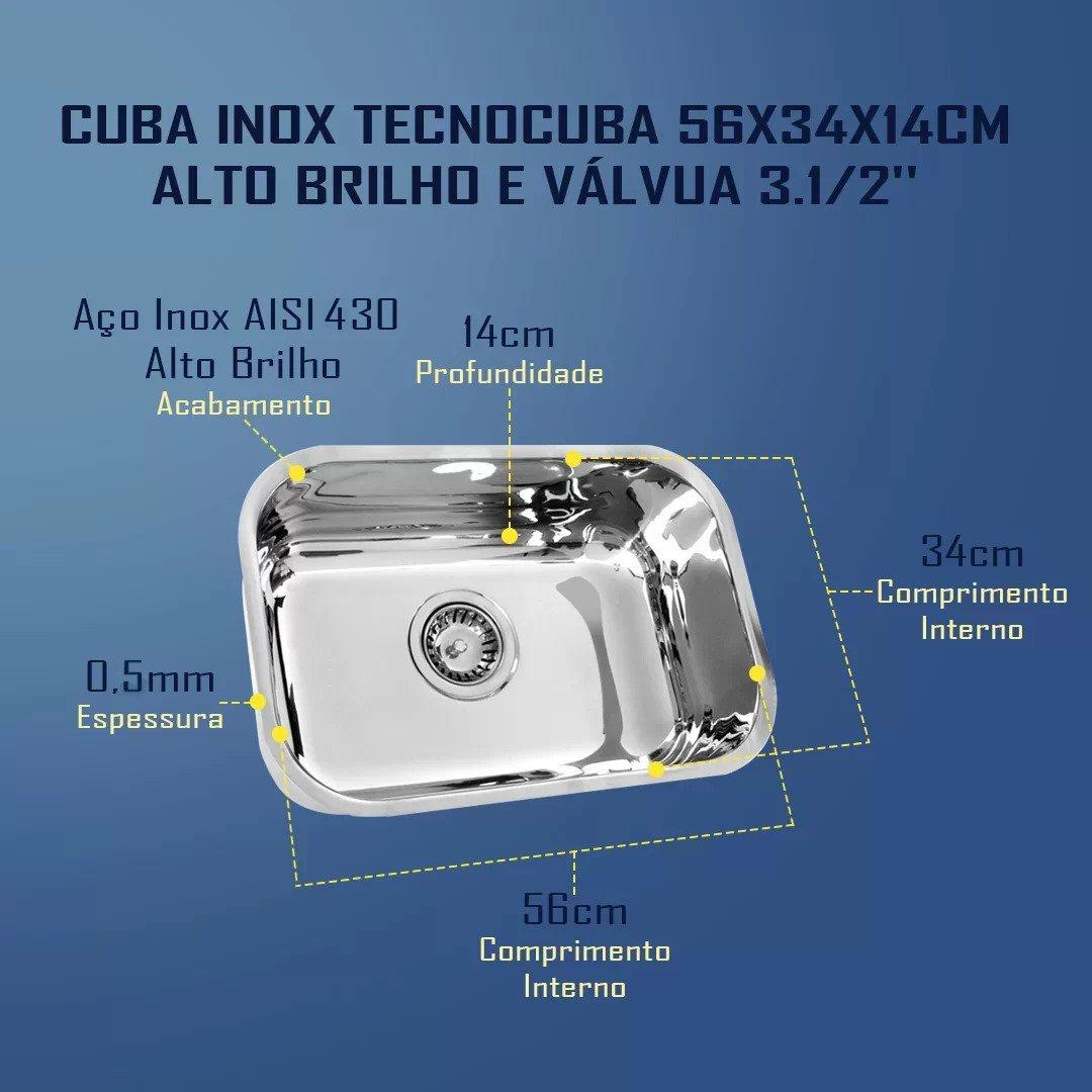Cuba Inox Tecnocuba 56x34x14cm Alto Brilho e Válvula 3.1/2''