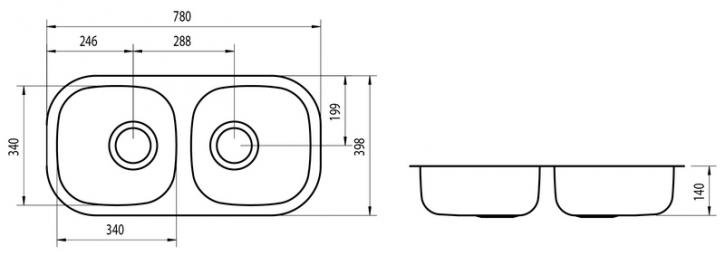 Medidas e Desenho Técnico da Cuba Dupla Retangular 2C 34 BL Perfecta