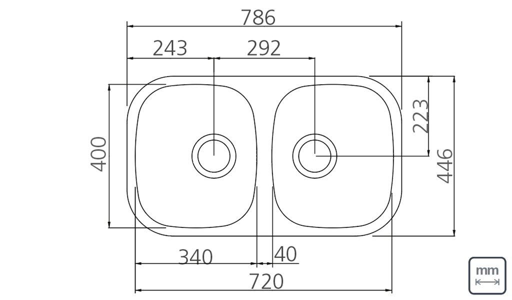 Medidas e Desenho Técnico da Cuba  Dupla Retangular 2C 34 BL Vertical Fosca