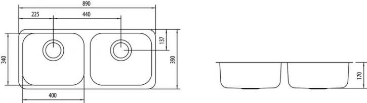 Medidas e Desenho Técnico da Cuba Dupla Retangular 2C 40 BL Horizontal