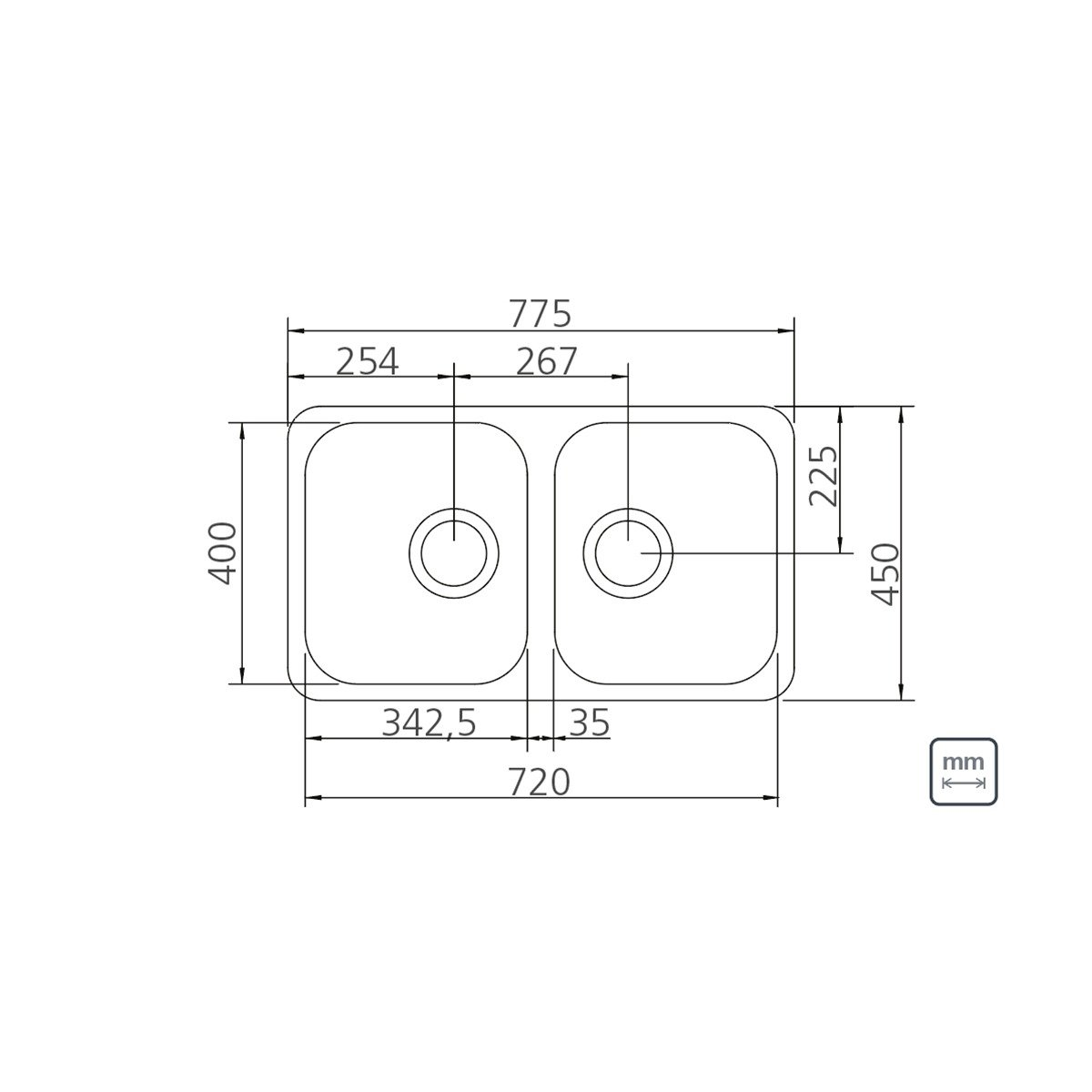Medidas e Desenho Técnico da Cuba Dupla Retangular Plus 2C 34 BL