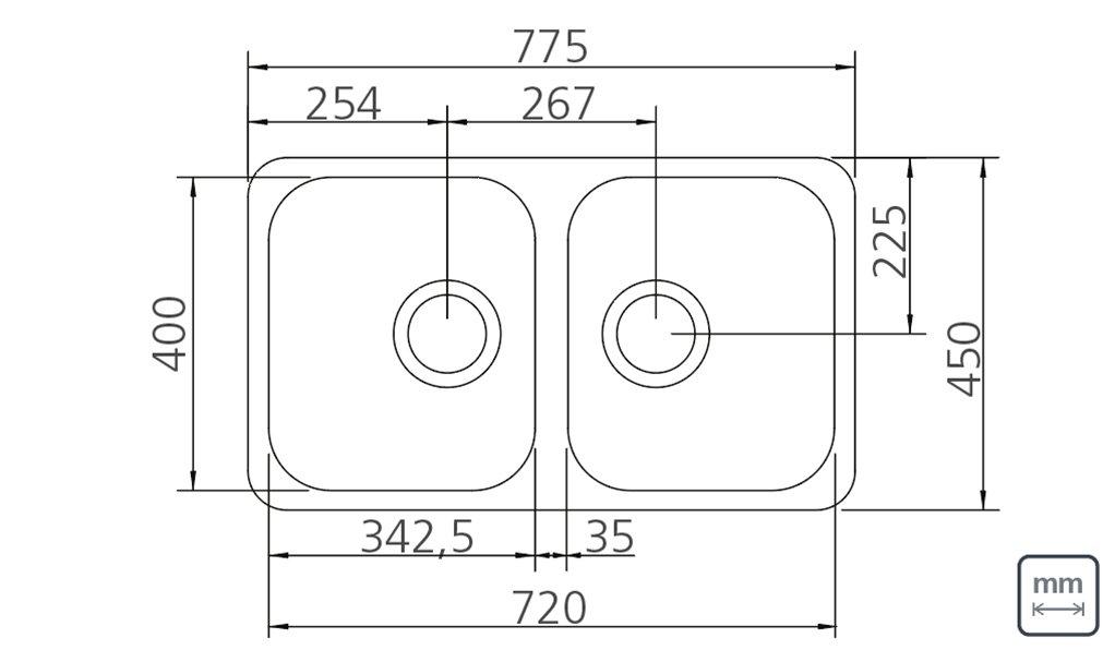 Medidas e Desenho Técnico da Cuba Dupla Retangular Plus 2C 34 BL Fosca
