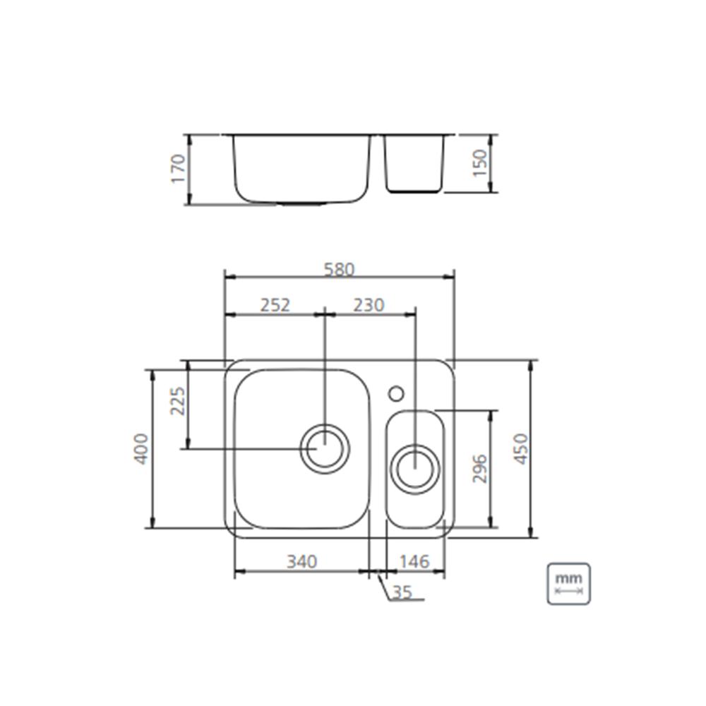 Medidas e Desenho Técnico da Cuba Tramontina Isis Plus 1.5C 34 BL