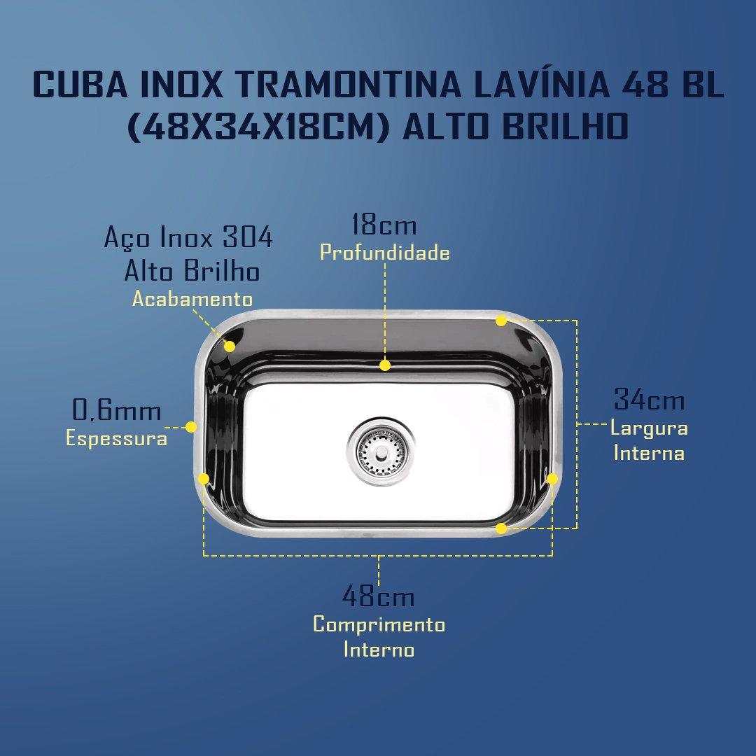 Medidas Cuba Tramontina Lavínia 48 BL