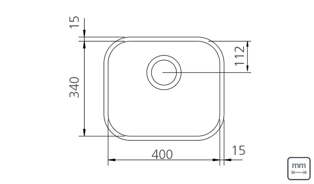 Desenho Técnico e Medidas da Cuba Inox Tramontina Retangular 40x34x17cm Fosca