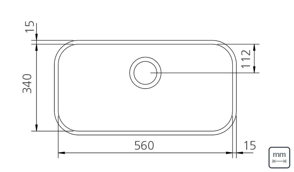 Desenho Técnico e Medidas da Cuba Inox Tramontina Retangular 56x34x17cm Fosca