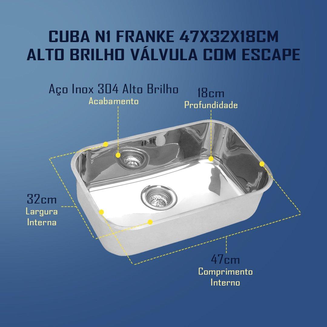 Medidas Cuba N1 Franke 47x32x18cm