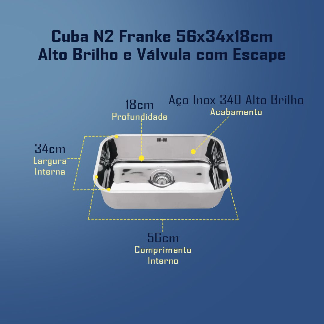 Medidas Cuba N2 Franke 56x34x18cm Alto Brilho