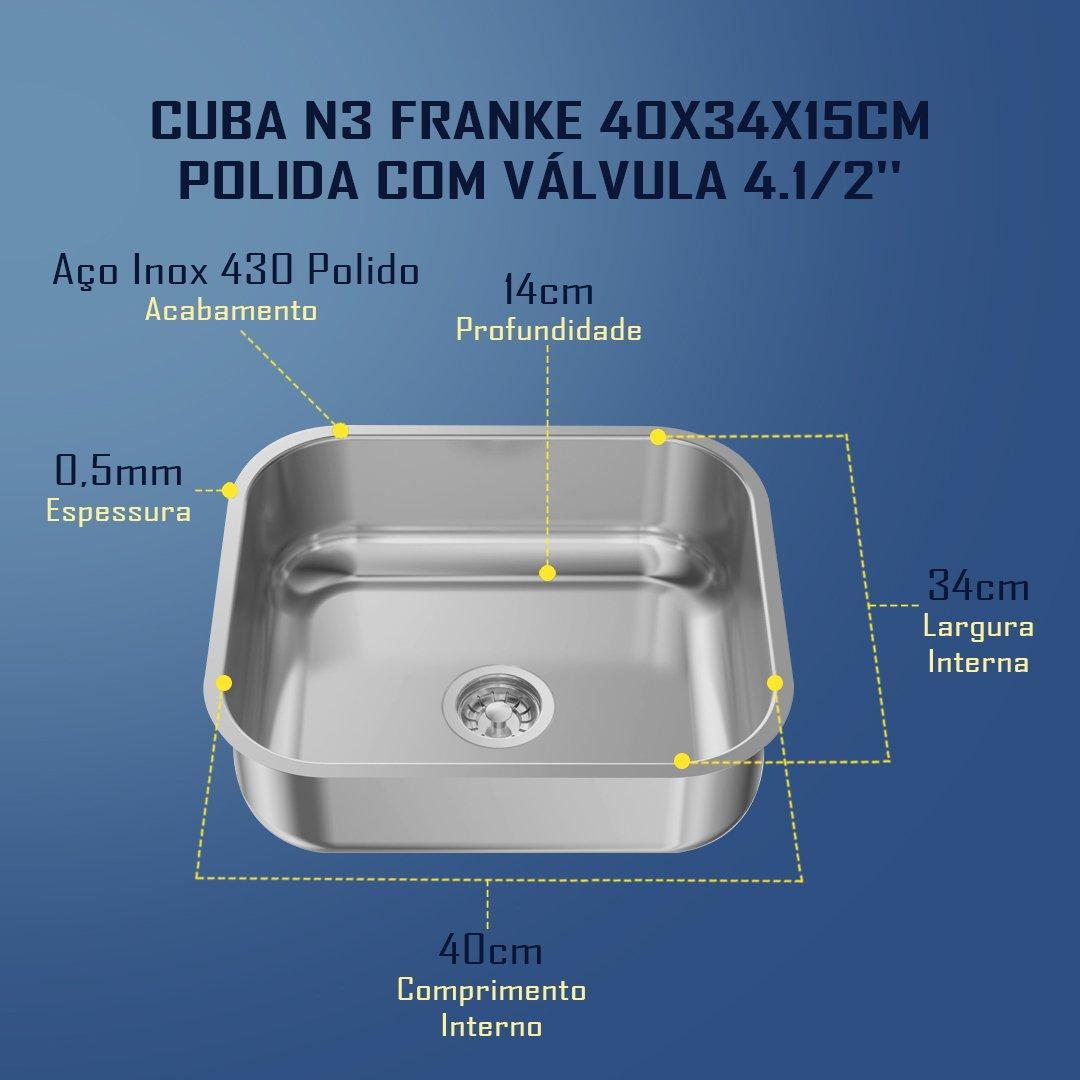 Medidas Cuba N3 Franke 40x34x15cm Polido