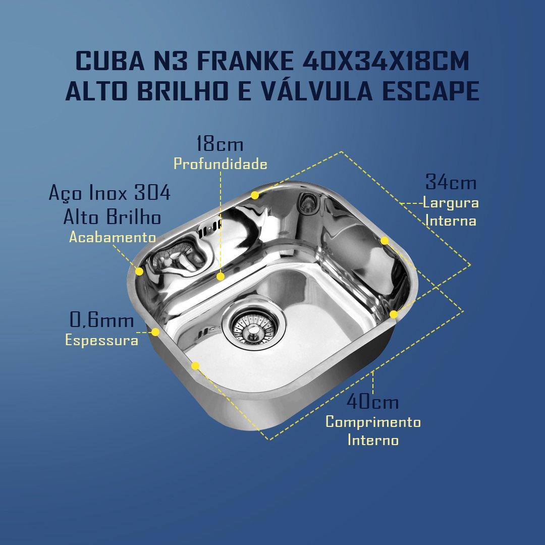 Medidas Cuba N3 Franke 40x34x18cm Alto Brilho