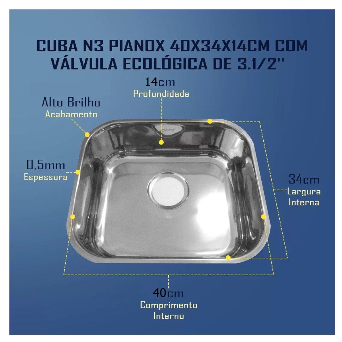 Cuba N3 Pianox 40x34x14cm com Válvula Ecológica de 3.1/2''